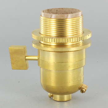 Smooth Shell Long Uno Threaded One Way Square Key Lamp Socket - Unfinished Brass