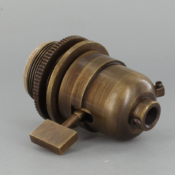 Smooth Shell Long Uno Threaded One Way Square Key Lamp Socket - Antique Brass