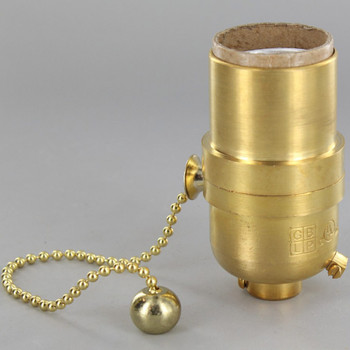 Pull Chain Smooth Shell Cast Lamp Socket - Unfinished Brass