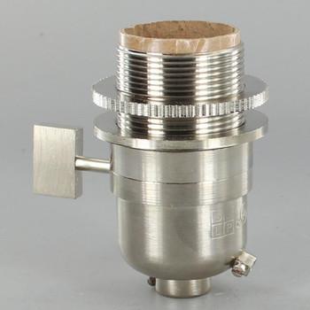 Smooth Shell Long Uno Threaded One Way Square Key Lamp Socket - Satin Nickel