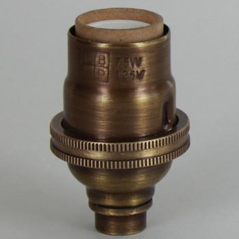 E-12 Socket with Porcelain Interior - Antique Brass Finish