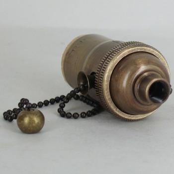 E-26 1-Way Pull Chain Switch Lamp Socket - Antique Brass Finish