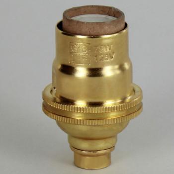 E-12 Socket with Porcelain Interior - Unfinished Brass