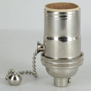 E-26 1-Way Pull Chain Switch Lamp Socket - Polished Nickel Finish