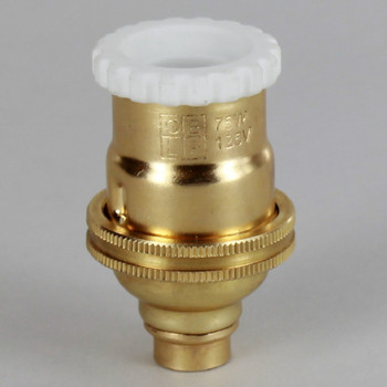 E-12 Socket with Porcelain Top and Captive Ring - Unfinished Brass