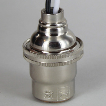 Pre-Wired E-12 Socket with Porcelain Interior and Captive Ring - Polished Nickel Finish