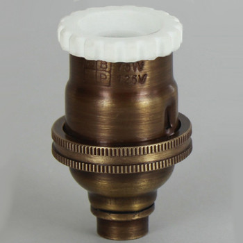 E-12 Socket with Porcelain Interior and Captive Ring - Antique Brass Finish