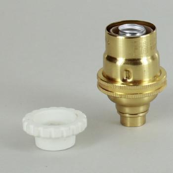 E-12 Socket with Porcelain Interior and Captive Ring - Polished Brass Finish