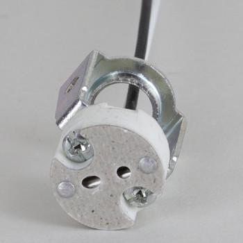 1/8ips. Female Bi-pin Halogen Porcelain Socket W/ 72in.long Teflon 200 Degree Wire Leads