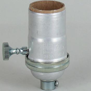 3 Way Turn Knob Edison Medium Base E-26 Lamp Socket - Unfinished Aluminum