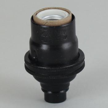 E-12 Socket with Porcelain Interior - Black Finish