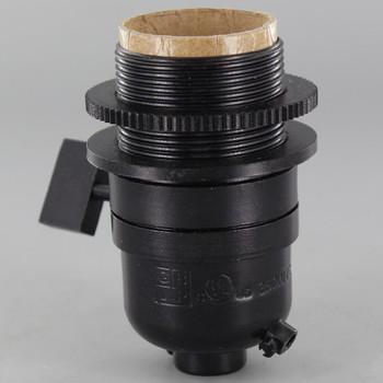 Smooth Shell Long Uno Threaded One Way Square Key Lamp Socket - Black Finish