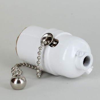 Pull Chain Smooth Shell Cast Lamp Socket - White Finish