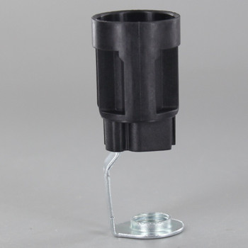 65mm Height - E12 Thermoplastic Candle Lamp Holder with 1/8ips Threaded Hickey