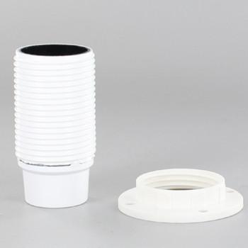 E14 White Fully Threaded Skirt Phenolic Lamp Holder with 1/8ips Threaded Cap