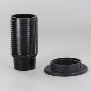 E14 Black Fully Threaded Skirt Phenolic Lamp Holder with 1/8ips Threaded Cap
