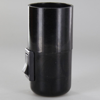 E27 Black Phenolic Smooth Skirt Toggle Switch Lamp Holder with 1/8ips Threaded Cap