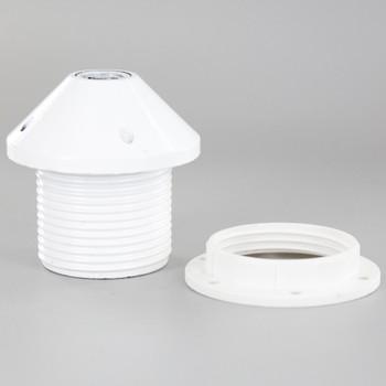 E27 White Threaded Skirt Pendant Style Lamp Holder with 1/8ips Threaded Cap