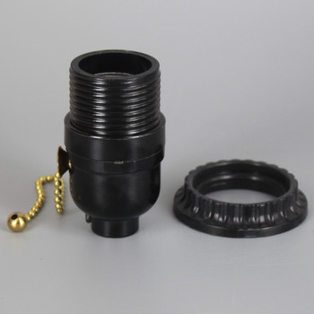 E-26 Base Phenolic Brass Pull Chain Socket with Threaded Shell and Shade Ring with 1/8ips. Bottom