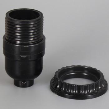 Leviton - Black Phenolic E-26 Keyless Socket and Threaded Shell with Shade Ring with 1/8ips. Bottom