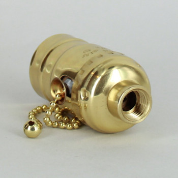 Leviton - Polished Brass Pull Chain Socket with 1/4ips. Female Cap