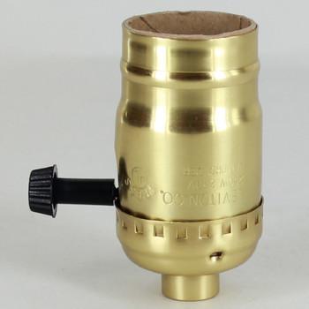 Leviton - Polished Brass E-26 Single Turn Knob Socket