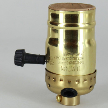 Leviton - Polished Brass Finish E-26 High-Low Dimmer Socket with Side Wire Outlet