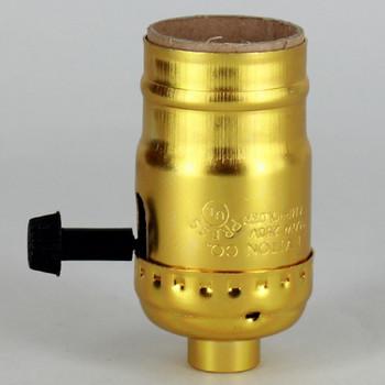 Medium Base Metal Shell Removable Turn Knob Socket - Polished Gilt Finish