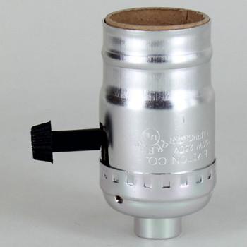 Medium Base Metal Shell Removable Turn Knob Socket - Nickel Plated