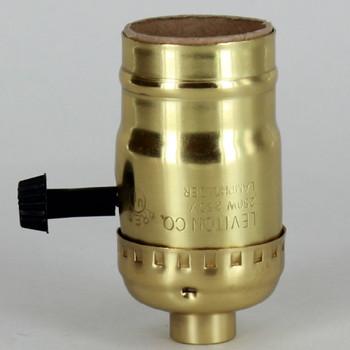Medium Base Metal Shell Removable Turn Knob Socket - Unfinished Brass