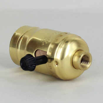 Leviton - Polished Brass 3-Way Turn Knob Socket with 1/8ips. Female Cap