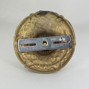 1-1/16in Center Hole - Cast Brass Deep Flower Canopy Kit - Unfinished Brass