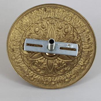 1-1/16in Center Hole - Cast Brass Six Point Canopy Kit - Unfinished Brass