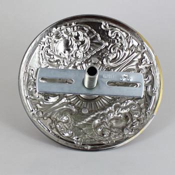 1-1/16in Center Hole - Cast Brass Rococo Canopy Kit - Satin Nickel Finish