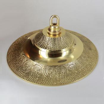1-1/16in Center Hole - Cast Brass Medium Indian Canopy Kit - Polished Brass Finish