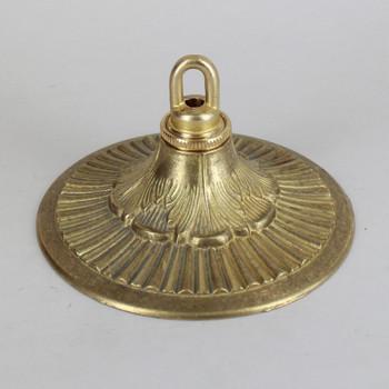 1-1/16in Center Hole - Cast Brass Husk & Rib Canopy Kit - Unfinished Brass
