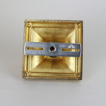1-1/16in Center Hole - Cast Brass Small Square Beaded Kit - Unfinished Brass