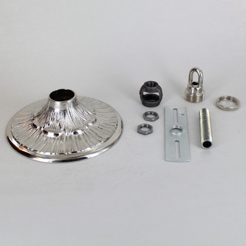 1-1/16in Center Hole - Cast Brass Husk & Rib Canopy Kit - Nickel Plated Finished