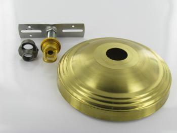 1-1/16in Center Hole - 6in Spun Stepped Canopy Kit - Unfinished Brass