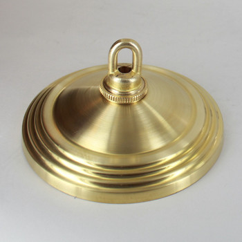 1-1/16in Center Hole - 5in Spun Stepped Canopy Kit - Unfinished Brass