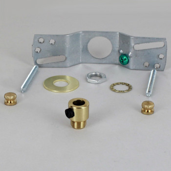 2-3/4in Bar Hole SVT Wire Pendant Hanging Cross Bar Set - Polished Brass Finish
