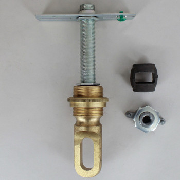 Heavy Duty - 1-13/32in Hole Canopy Chain Hanging Screw Collar Loop Cross Bar Set - Unfinished Brass