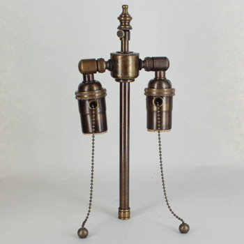 7in. Bottom Stem Antique Brass Finish Pull Chain Cluster