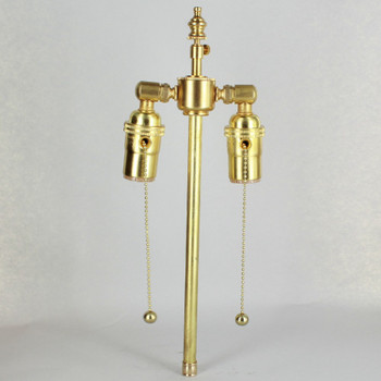 11in. Bottom Stem Unfinished Brass Pull Chain Cluster