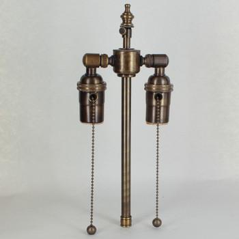 8in. Bottom Stem Antique Brass Finish Pull Chain Cluster