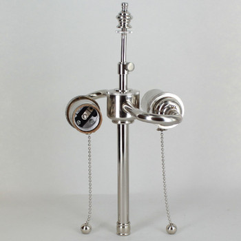 6in. Bottom Stem Pull Chain S-Cluster - Polished Nickel Finish