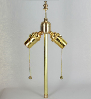 12in. Bottom Stem Unfinished Brass Pull Chain PA Cluster