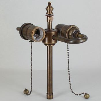 5in. Bottom Stem Pull Chain S-Cluster - Antique Brass Finish