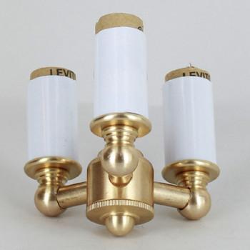 3-Light Lantern Style Cluster Kit with E-12 Base Candle Sockets - Unfinished Brass