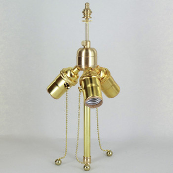 Unfinished Brass 3 Light Pull Chain Socket Lamp Cluster